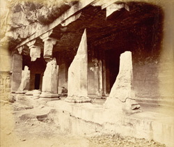 General view from the right of porch and entrance to Buddhist Vihara, Cave XVII, Ajanta